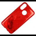 Etui Brokat Glitter SAMSUNG GALAXY J6 czerwony kwiat