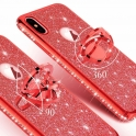 Etui Diamond Ring Glitter Brokat SAMSUNG GALAXY S9 czerwone