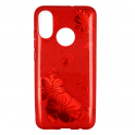 Etui Brokat Glitter SAMSUNG GALAXY A7 2018 czerwony kwiat