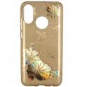 Etui Brokat Glitter HUAWEI Y7 PRIME 2019 złoty kwiat