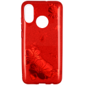 Etui Brokat Glitter IPHONE 8 czerwony kwiat