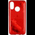 Etui Brokat Glitter HUAWEI MATE 20 LITE czerwony kwiat