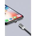 Kabel USB CAFELE Magnetyczny 1M 2A 3w1 Micro USB/ TYP C USB-C/ IPhone Lightning Przewód Nylonowy Magnetic podświetlany LED czarny