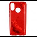 Etui Brokat Glitter HUAWEI P30 LITE czerwony kwiat