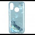 Etui Brokat Glitter SAMSUNG GALAXY J6+ J6+ Plus niebieski kwiat