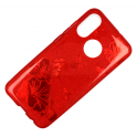 Etui Brokat Glitter HUAWEI P30  czerwony kwiat