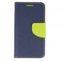Etui portfel Fancy SAMSUNG GALAXY A50 granatowo-limonkowe