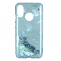 Etui Brokat Glitter HUAWEI Y7 PRIME 2019 niebieski kwiat