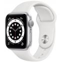 Smartwatch Apple Watch Series 6 GPS 44mm Aluminium srebrny z białym paskiem Sport
