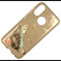 Etui Brokat Glitter SAMSUNG GALAXY A9 2018 złoty kwiat