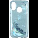 Etui Brokat Glitter LG K10 2018 niebieski kwiat